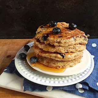 Whole Grain Blueberry Banana Pancakes