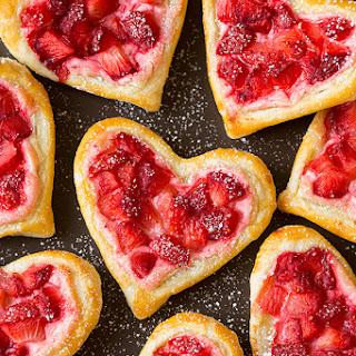 Heart-Shaped Strawberry Cream Cheese Breakfast Pastries.