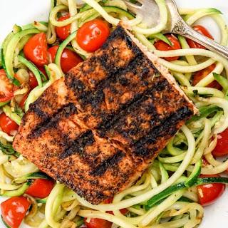 Blackened Salmon with Garlic Zucchini Noodles.