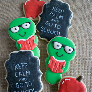Back To School Sugar Cookies - Bookworms and Chalkboard Decorated Cookies