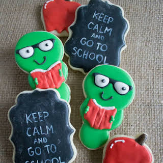 Back To School Sugar Cookies - Bookworms and Chalkboard Decorated Cookies.