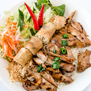 Grilled Chicken & Spring roll on Vermicelli