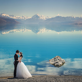 Perfect day by Zhuo Ya - Wedding Bride & Groom ( zhuoya, prewedding, wedding, zhuoya photography, new zealand, lake pukaki )