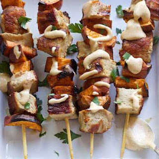Grilled Pork & Sweet Potato Skewers with Pumpkin Aioli.