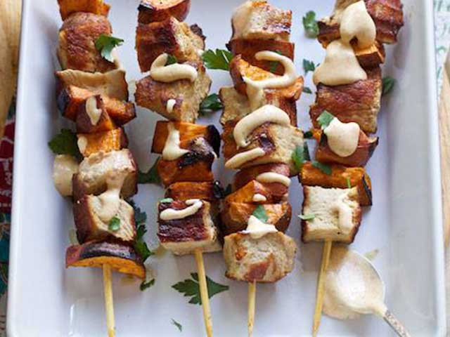 Grilled Pork & Sweet Potato Skewers with Pumpkin Aioli Recipe