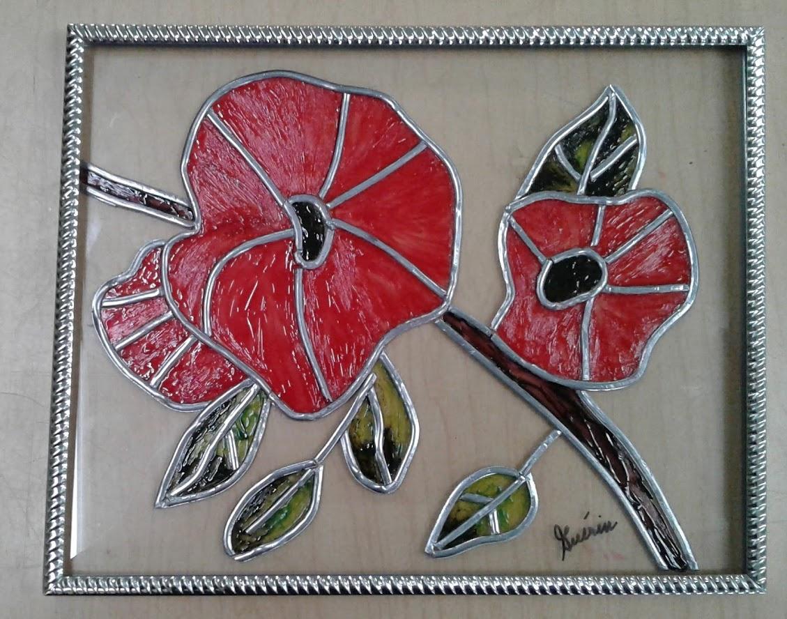 Fleur en faux-vitrail