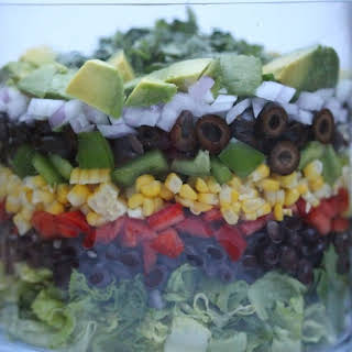 Layered Black Bean and Corn Salad with Cilantro-Citrus Dressing.