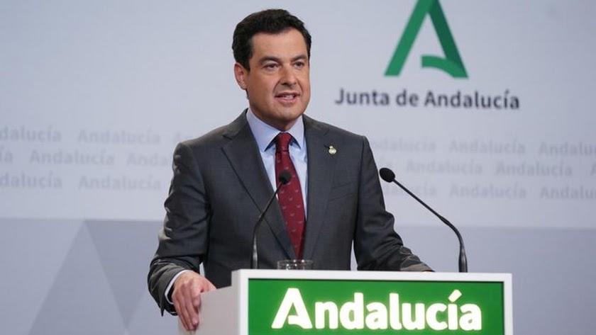 Juanma Moreno durante su declaración institucional.