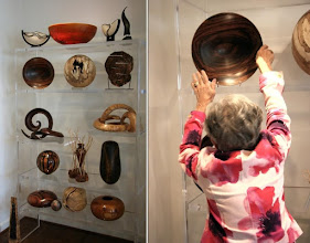 Photo: Two views: the wall display lacks scale until we see Jane putting an unusually large Bob Stocksdale bowl back on the second shelf from the top.
