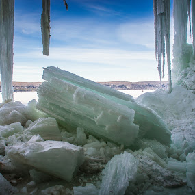 All that Has Fallen by Jill Laudenslager - Landscapes Caves & Formations ( water, michigan, grand island 2015, winter, nature, waterscape, ice, lake superior, frozen, upper michigan, pure michigan, island )