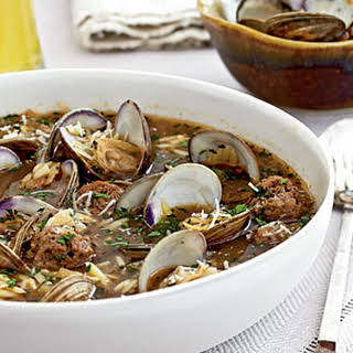 Clam Soup with Orzo and Meatballs.