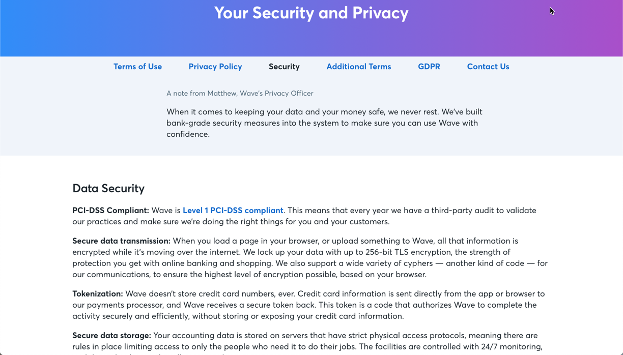 Security policy example
