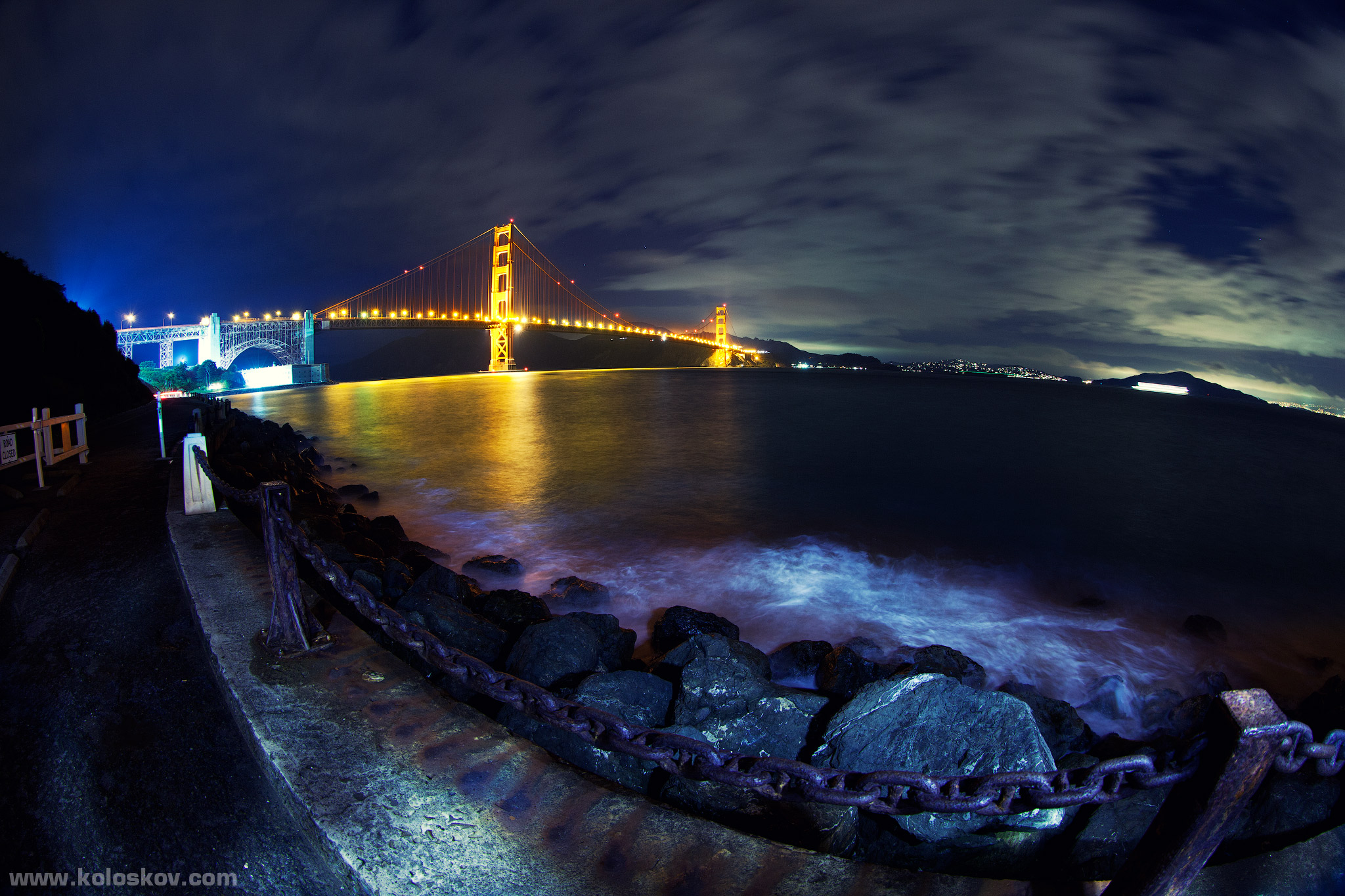 Photo: Golden gate bridge at night by Alex Koloskov. Learn more about technique at www.RealisticHDRbook.com