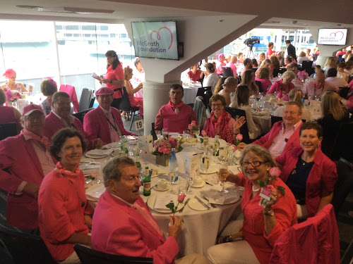 Best dressed winners: Narrabri Shire supporters and friends wore pink at the 'Pink Test' fundraiser lunch for the McGrath Foundation at Sydney Cricket Ground last week. Clockwise from front centre, Darby Waghorn, Gil and Dave Hudson, Chris Bazley, Rob McCarron, Jono and Wendy Phelps, Vince and Kerrie Haire and Christine Waghorn.