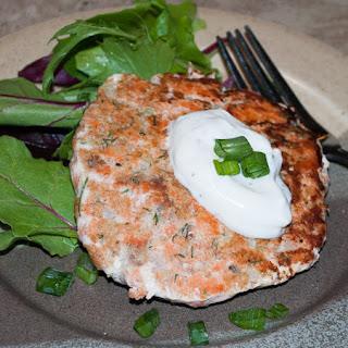 Salmon Patties with Dill Sauce.