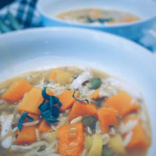 Chicken Orzo Soup With Butternut Squash, Leek + Sage.