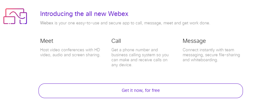 Introduction text to Webex features