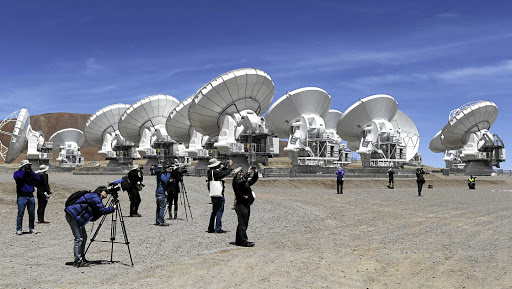 Looking up: The parabolic antennas of the Atacama Large Millimetre/Submillimetre Array project at the El Llano de Chajnantor in Chile's Atacama desert. Picture: REUTERS