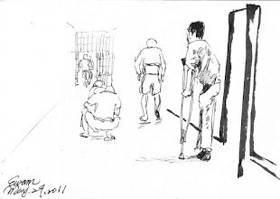 Photo: 刑路漫漫2011.05.29鋼筆 監內不乏老邁或殘障的收容人,看著他們開封時從舍房走向工場的身影,總覺得… 他們的服刑之路…真是條漫漫長路…