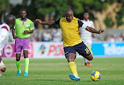 Collins Mbesuma of Maccabi FC lines up a shot at goal during the National First Division game against Stellenbosch FC at Idas Valley Stadium in Stellenbosch on May 5 2019.