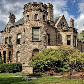 The Castle by Randi Hodson - Buildings & Architecture Public & Historical ( clouds, building, sky, tree, lawn, castle )