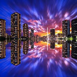 Reflection of the city by Kadek Lana - City,  Street & Park  Night ( japan, sunset, tokyo, cityscape, landscape, citylight, city )