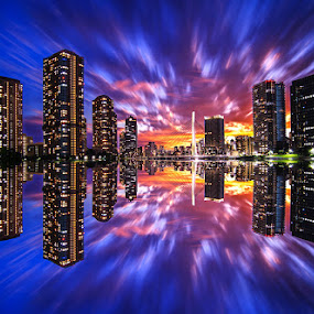 Reflection of the city by Kadek Lana - City,  Street & Park  Night ( japan, sunset, tokyo, cityscape, landscape, citylight, city )