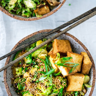 Sesame Brussels Sprouts Tofu Bowl.