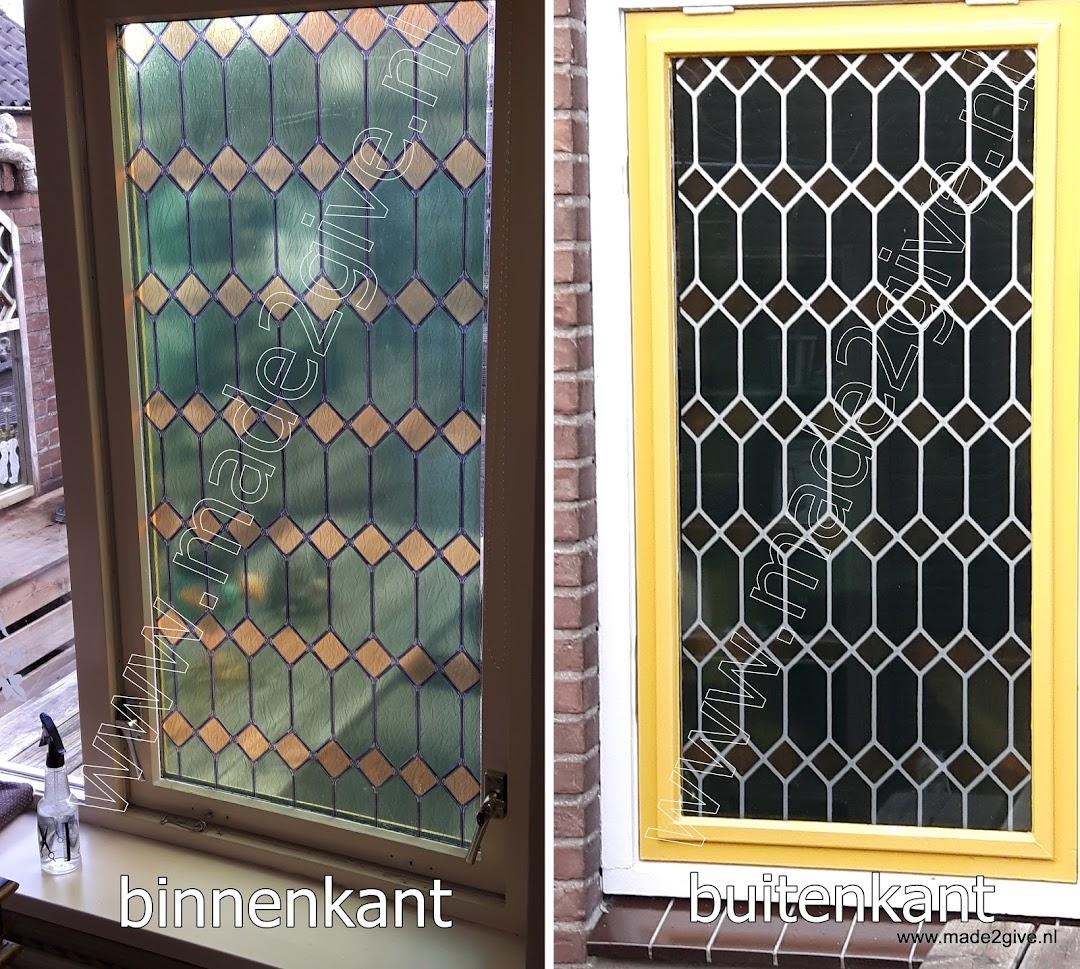 Raamfolie glas in lood ruiten groen verticaal