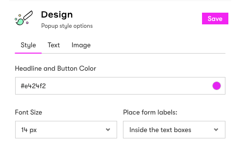 Form style options: headline and button color, font size, and location of form labels.