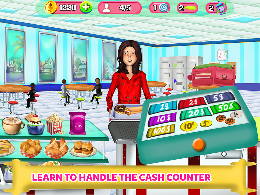 High School Cafe Cashier Girl - Kids Game- screenshot
