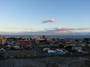 Photo: View up above at Punta Arenas, Chile. At the far end you can see the Island Tierras Del Fuego.