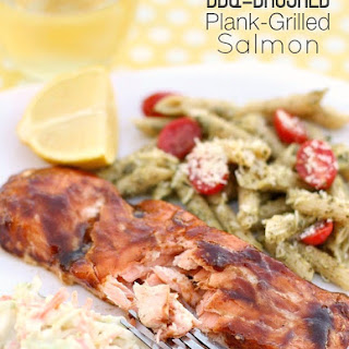 BBQ Brushed Plank-Grilled Salmon