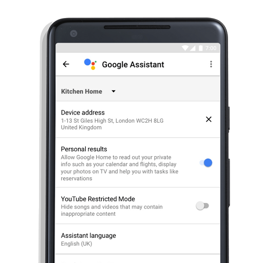 Google Assistant app settings