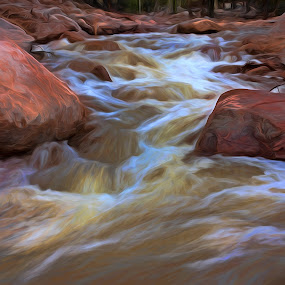 Lifes Blood by Todd Yoder - Landscapes Waterscapes ( water, boulders, rocks, filters, river )