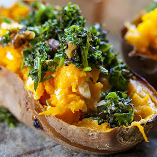 Baked Sweet Potatoes with Crispy Kale and Feta.
