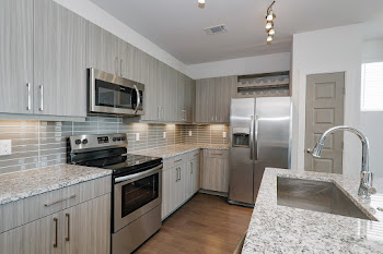 Kitchen with wood-inspired flooring, stainless steel appliances, and light cabinets