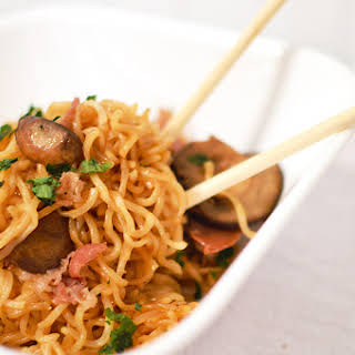 Mushroom Prosciutto Ramen Noodles.