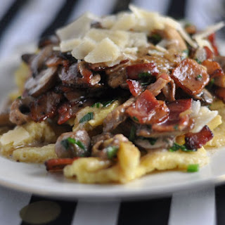 Almond Pasta with Bacon & Wild Mushroom Sauce