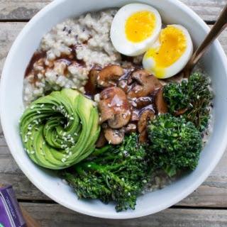 Savory Oatmeal Bowl with Mushrooms and Broccoli.