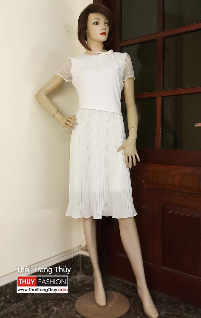 Váy xòe công sở dạo phố phối vải dập ly V598 tại Hải Phòng