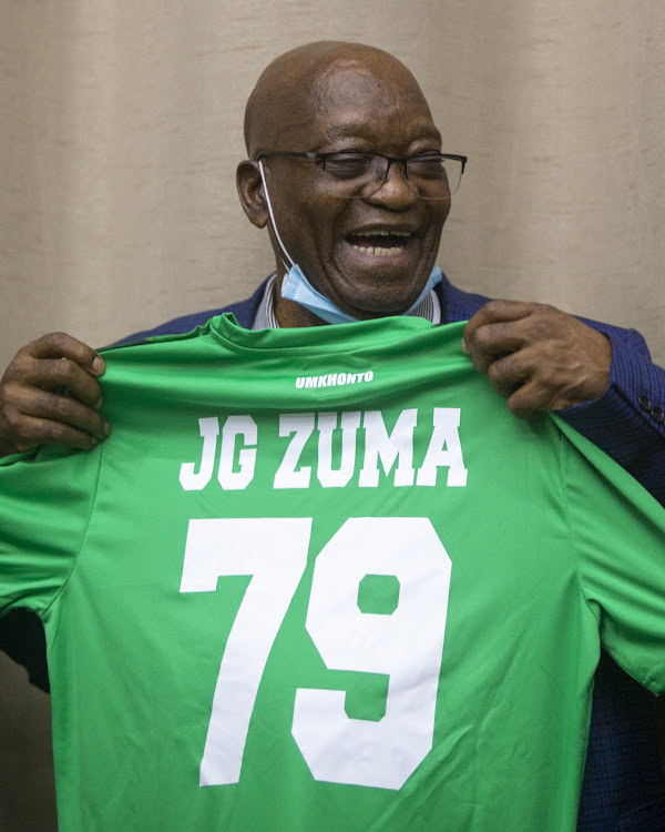 Zuma was gifted a personalised footbally jersey by Durban-based football club AmaZulu FC with his name and age printed on the back.