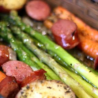 One Pan Roasted Asparagus, Potatoes and Smoked Sausage.