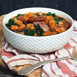 Smokey Sausage, Kale & Sweet Potato Soup.