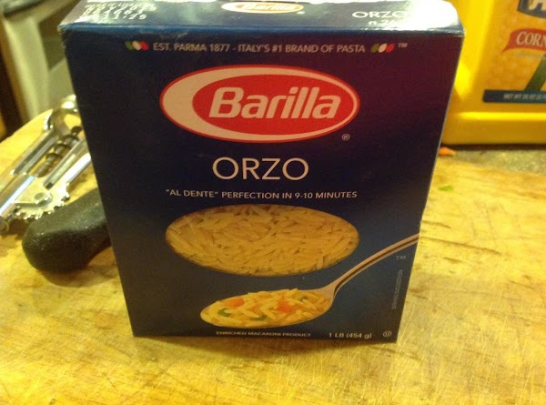 After 2 hours add the orzo pasta, and stir to blend, but continue to...