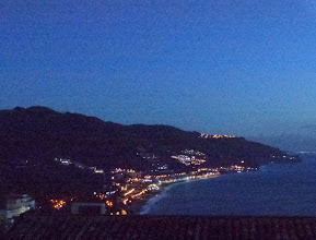 Photo: Arrival : the view at midnight across the bay below Taormina - 600 feet above sea level