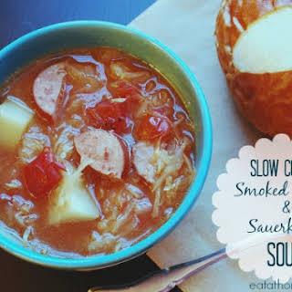 Slow Cooker Smoked Sausage and Sauerkraut Soup.