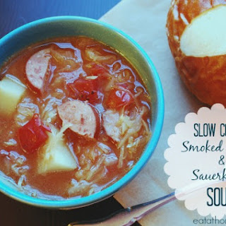 Slow Cooker Smoked Sausage and Sauerkraut Soup.