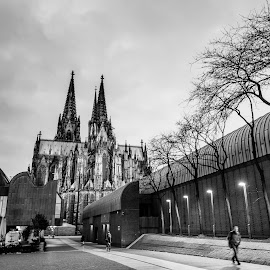 Early morning walker by Theodoros Theodorou - Black & White Street & Candid ( city, x-t1, 16mm f1.4 r wr, street, fujinon, cologne, germany, fujifilm, dawn, black and white, cathedral, morning )