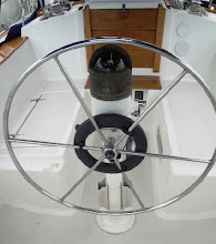 Photo: Image of binnacle and wheel from pre-purchase listing of Pilgrim.